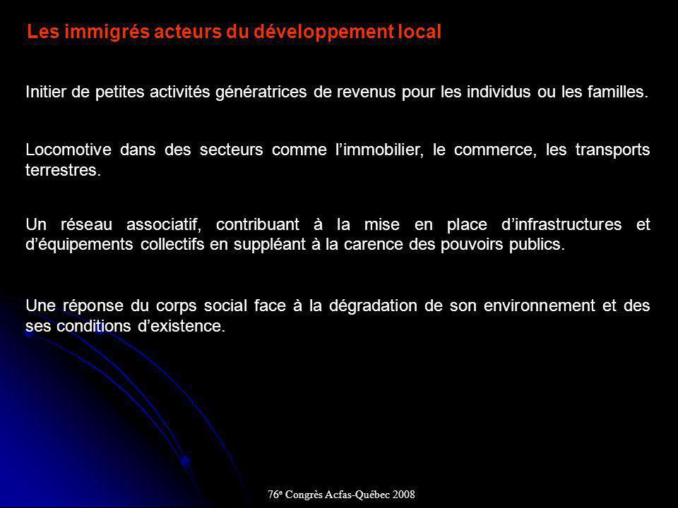 Les immigrés acteurs du développement local Initier de petites activités génératrices de revenus pour les individus ou les familles.