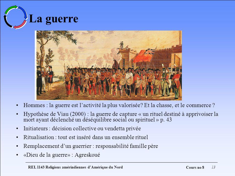 REL 1143 Religions amérindiennes dAmérique du Nord13 Cours no 8 La guerre Hommes : la guerre est lactivité la plus valorisée? Et la chasse, et le comm