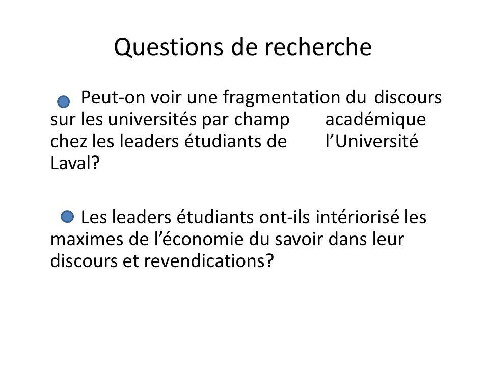 Questions de recherche Peut-on voir une fragmentation du discours sur les universités par champ académique chez les leaders étudiants de lUniversité L