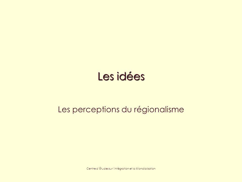 Centre dÉtudes sur lintégration et la Mondialisation Les idées Les perceptions du régionalisme