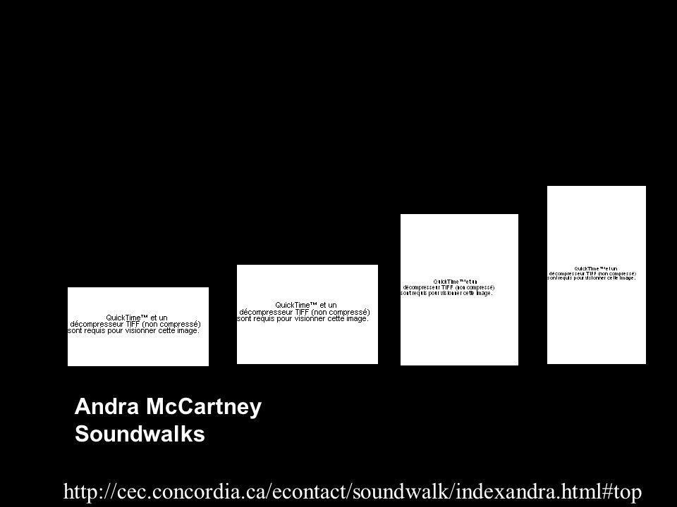 http://cec.concordia.ca/econtact/soundwalk/indexandra.html#top Andra McCartney Soundwalks