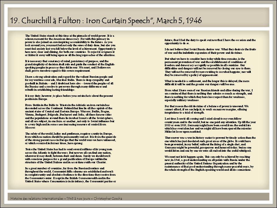 19. Churchill à Fulton : Iron Curtain Speech