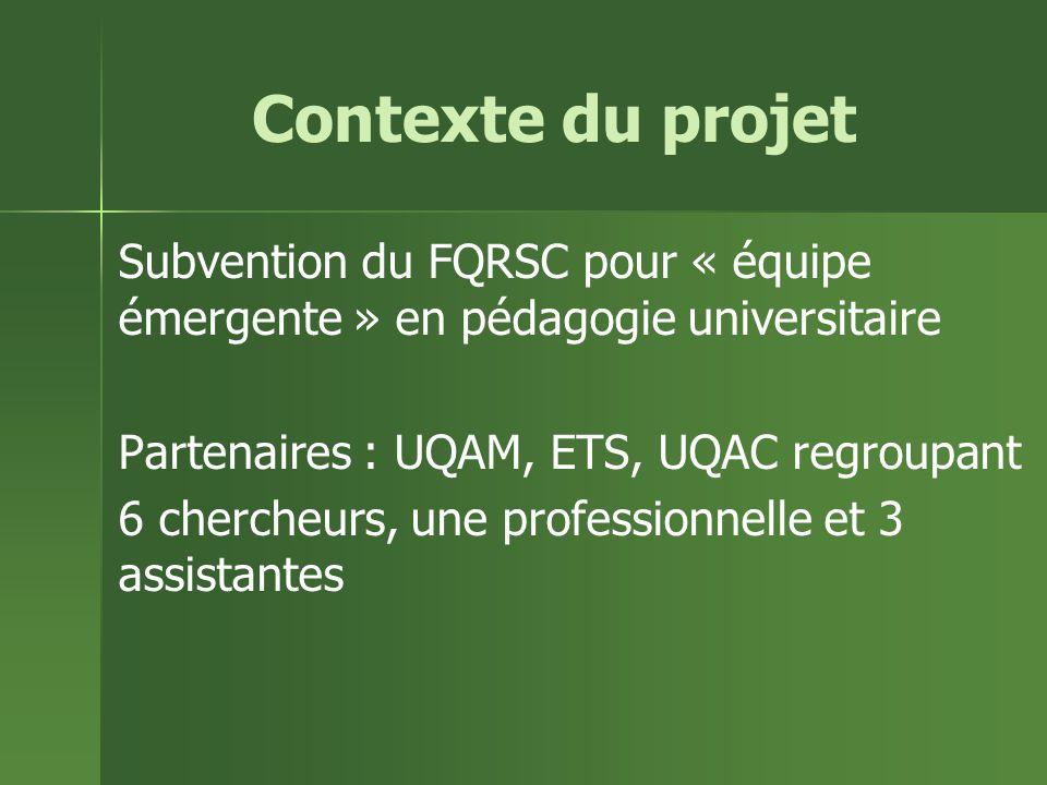 Contexte du projet Subvention du FQRSC pour « équipe émergente » en pédagogie universitaire Partenaires : UQAM, ETS, UQAC regroupant 6 chercheurs, une professionnelle et 3 assistantes