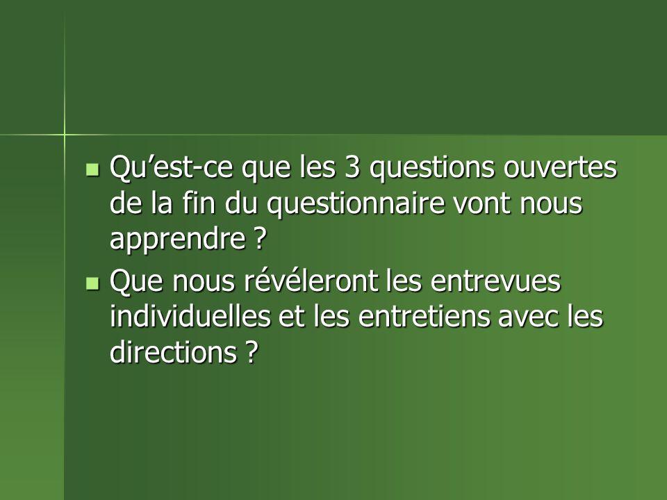 Quest-ce que les 3 questions ouvertes de la fin du questionnaire vont nous apprendre .