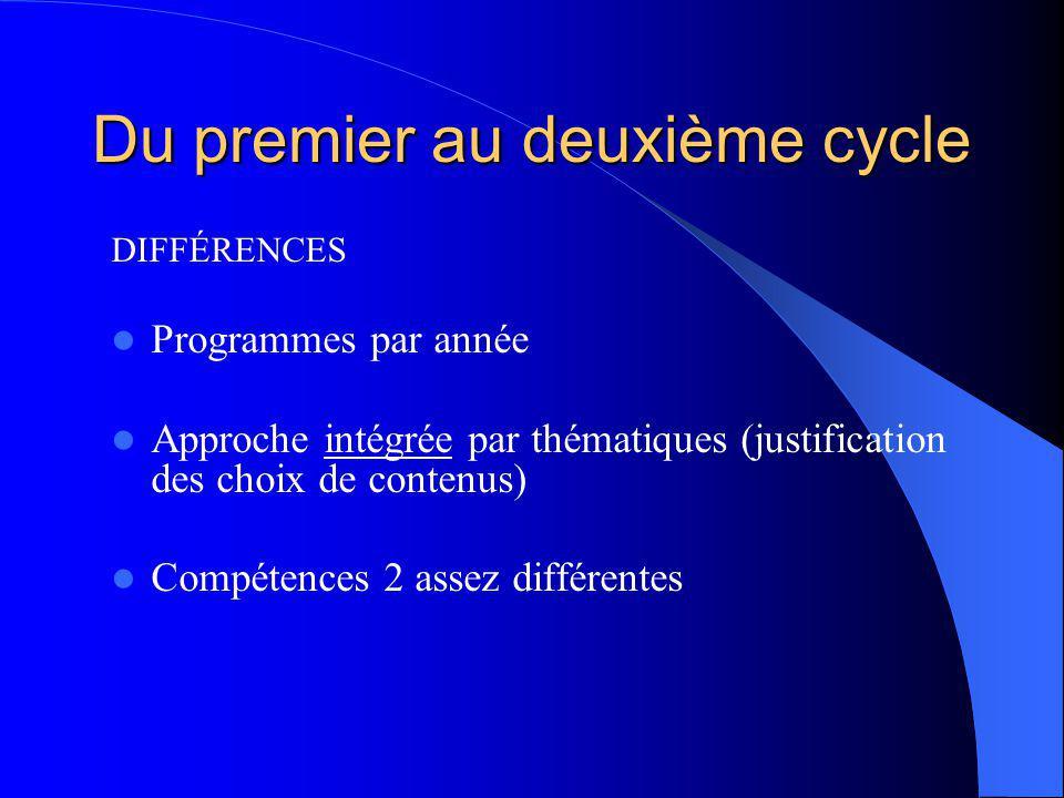 Du premier au deuxième cycle DIFFÉRENCES Programmes par année Approche intégrée par thématiques (justification des choix de contenus) Compétences 2 assez différentes