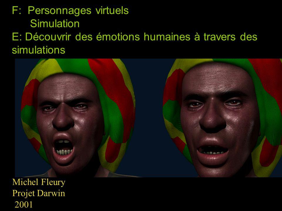 F: Personnages virtuels Simulation E: Découvrir des émotions humaines à travers des simulations Michel Fleury Projet Darwin 2001
