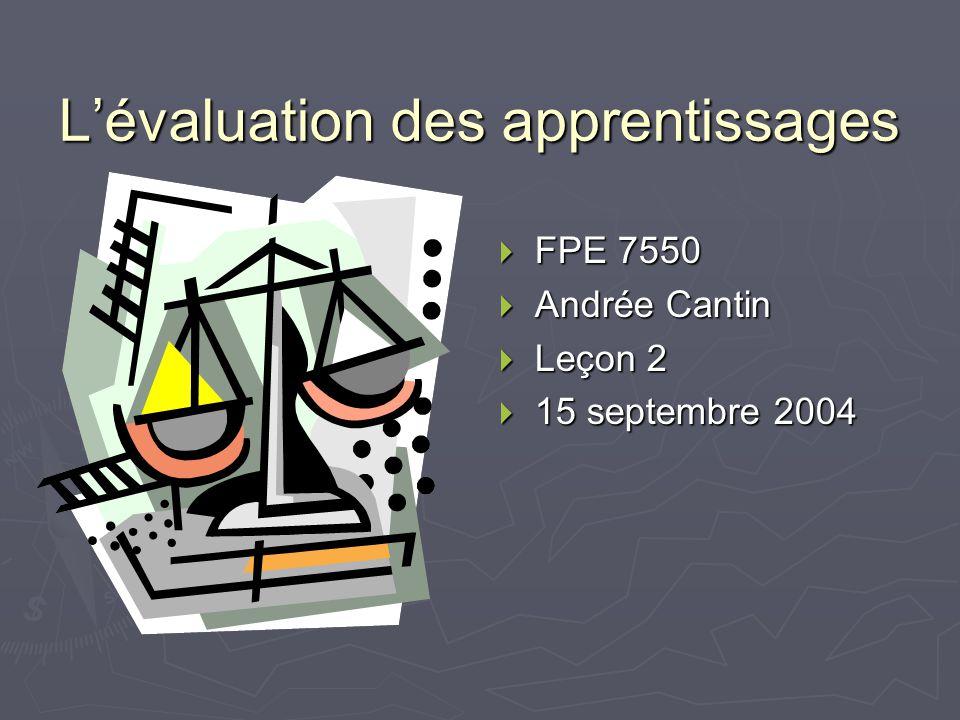 Lévaluation des apprentissages FPE 7550 Andrée Cantin Leçon 2 15 septembre 2004