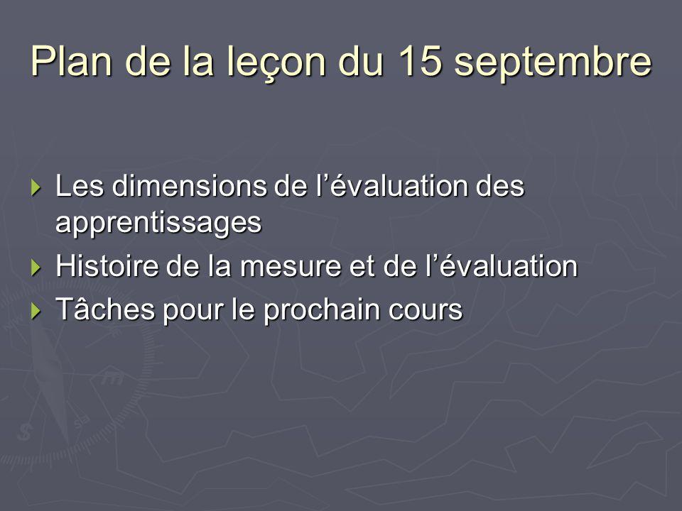 Plan de la leçon du 15 septembre Les dimensions de lévaluation des apprentissages Les dimensions de lévaluation des apprentissages Histoire de la mesure et de lévaluation Histoire de la mesure et de lévaluation Tâches pour le prochain cours Tâches pour le prochain cours