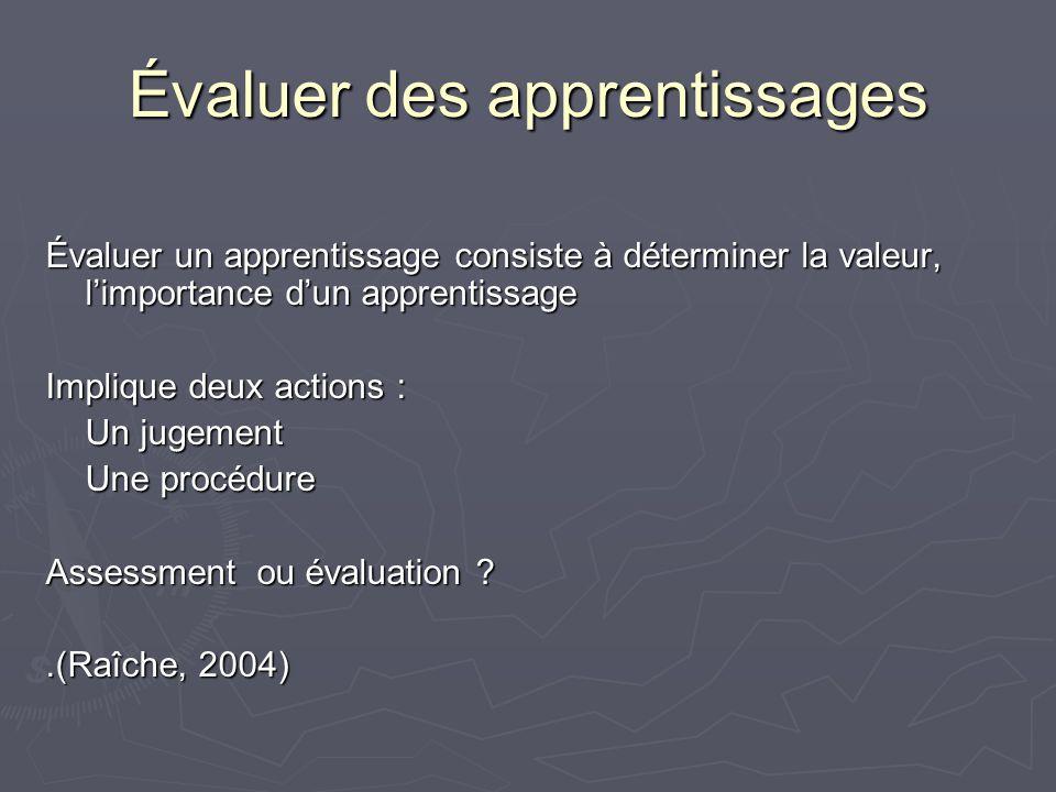 Évaluer des apprentissages Évaluer un apprentissage consiste à déterminer la valeur, limportance dun apprentissage Implique deux actions : Un jugement Une procédure Assessment ou évaluation .(Raîche, 2004)