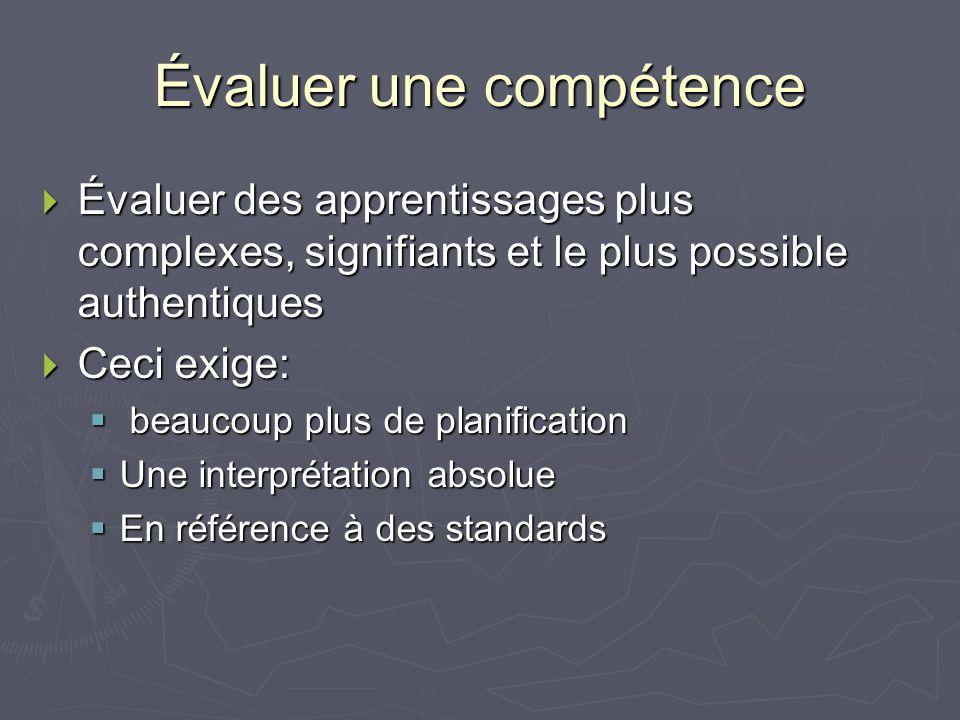 Évaluer une compétence Évaluer des apprentissages plus complexes, signifiants et le plus possible authentiques Évaluer des apprentissages plus complexes, signifiants et le plus possible authentiques Ceci exige: Ceci exige: beaucoup plus de planification beaucoup plus de planification Une interprétation absolue Une interprétation absolue En référence à des standards En référence à des standards