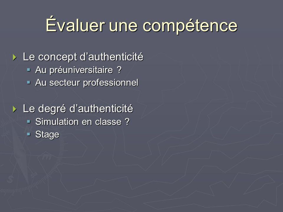 Évaluer une compétence Le concept dauthenticité Le concept dauthenticité Au préuniversitaire .