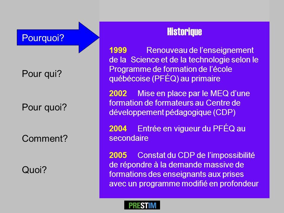 Pour qui? Comment? Quoi? Pourquoi? P RESTÎM Historique 1999 Renouveau de lenseignement de la Science et de la technologie selon le Programme de format