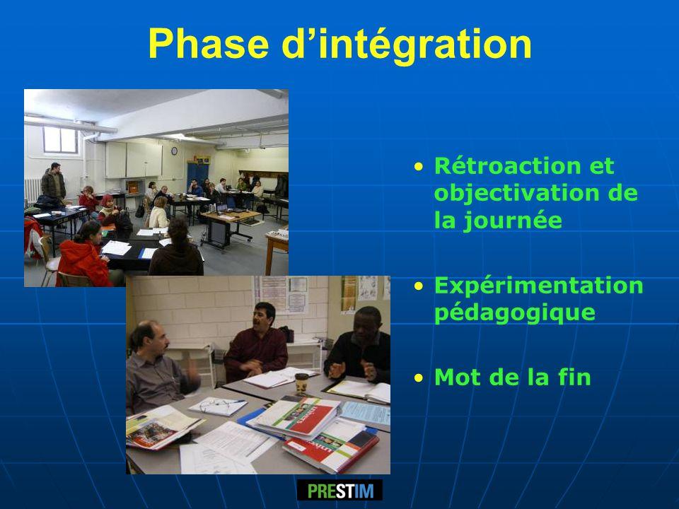 Phase dintégration Rétroaction et objectivation de la journée Expérimentation pédagogique Mot de la fin