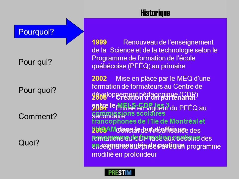 Pour qui? Comment? Pourquoi? P RESTÎM 1999 Renouveau de lenseignement de la Science et de la technologie selon le Programme de formation de lécole qué