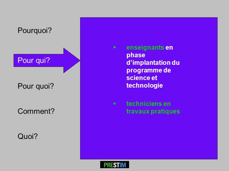 Pour qui? Comment? Pourquoi? enseignants en phase dimplantation du programme de science et technologie techniciens en travaux pratiques Quoi?