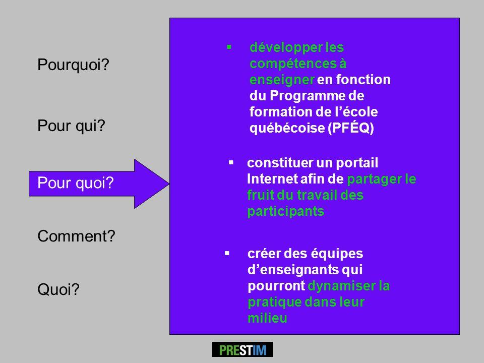 Pour qui? Pour quoi? Comment? Pourquoi? développer les compétences à enseigner en fonction du Programme de formation de lécole québécoise (PFÉQ) créer