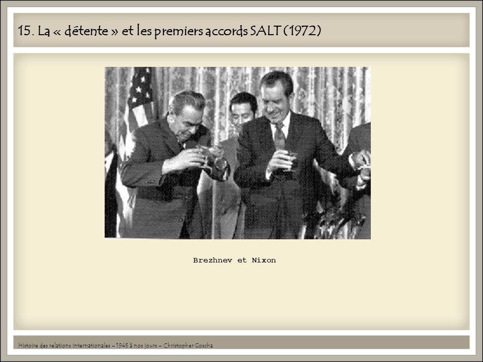 15. La « détente » et les premiers accords SALT (1972) Histoire des relations internationales – 1945 à nos jours – Christopher Goscha Brezhnev et Nixo