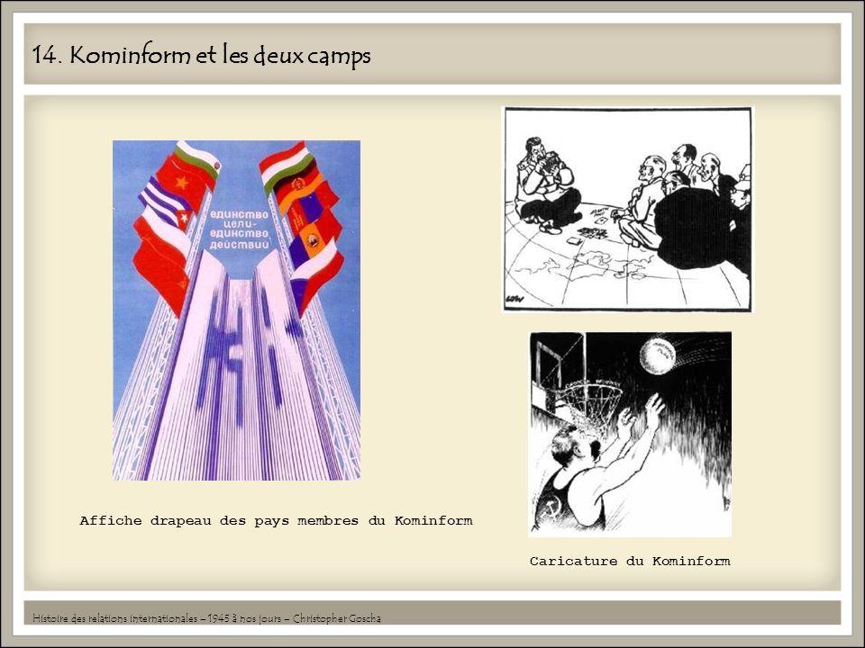 14. Kominform et les deux camps Histoire des relations internationales – 1945 à nos jours – Christopher Goscha Caricature du Kominform Affiche drapeau