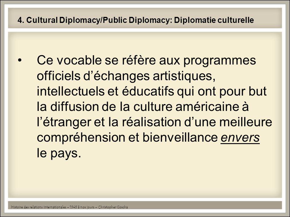 4. Cultural Diplomacy/Public Diplomacy: Diplomatie culturelle Ce vocable se réfère aux programmes officiels déchanges artistiques, intellectuels et éd