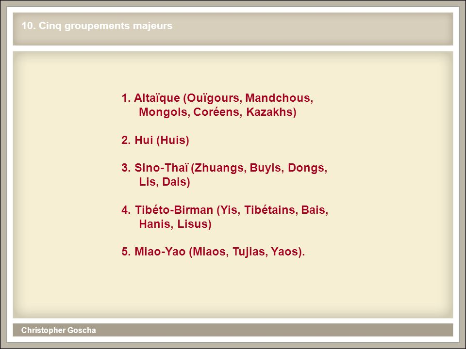 Christopher Goscha 10. Cinq groupements majeurs 1. Altaïque (Ouïgours, Mandchous, Mongols, Coréens, Kazakhs) 2. Hui (Huis) 3. Sino-Thaï (Zhuangs, Buyi