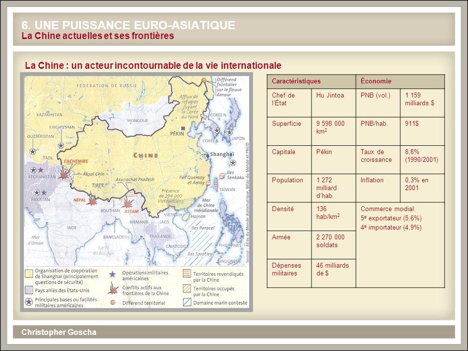 Christopher Goscha 6. UNE PUISSANCE EURO-ASIATIQUE La Chine actuelles et ses frontières La Chine : un acteur incontournable de la vie internationale C