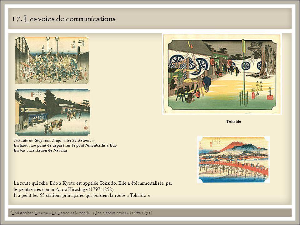 17. Les voies de communications La route qui relie Edo à Kyoto est appelée Tokaido. Elle a été immortalisée par le peintre très connu Ando Hiroshige (