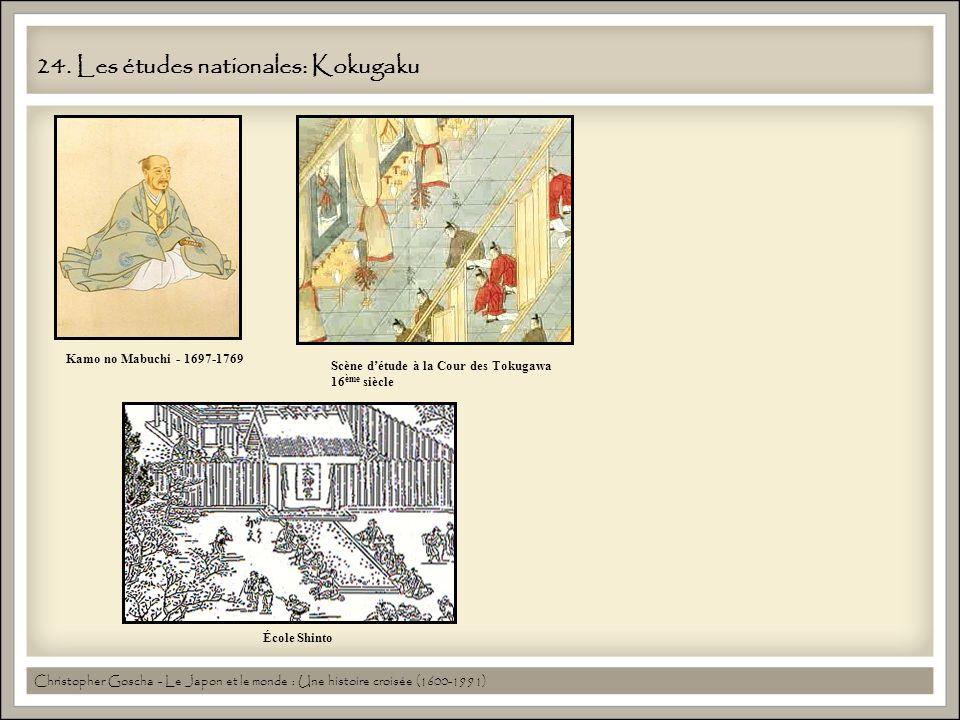 24. Les études nationales: Kokugaku Kamo no Mabuchi - 1697-1769 Scène détude à la Cour des Tokugawa 16 ème siècle École Shinto Christopher Goscha - Le