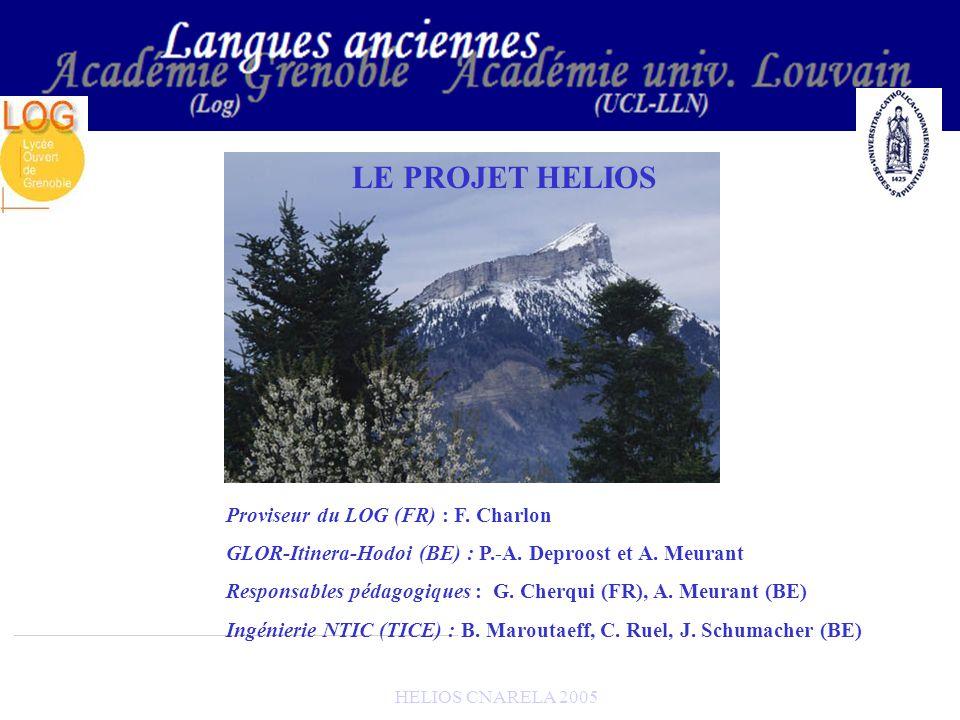 HELIOS CNARELA 2005 B) Les LECONS de latin et de grec 2) Conceptions des leçons - Hélios possède un site : http://helios.fltr.ucl.ac.be - Les enseignants qui conçoivent les cours ont un accès FTP au serveur et créent les pages de leurs leçons - Seule la page daccueil (« canevas ») est fixée - Chaque leçon est validée par les responsables FR + BE - Lannonce de cette validation est faite dans les ActuItinera/Hodoi/Helios : http://pot-pourri.fltr.ucl.ac.be/itinera/actualites/default.htm