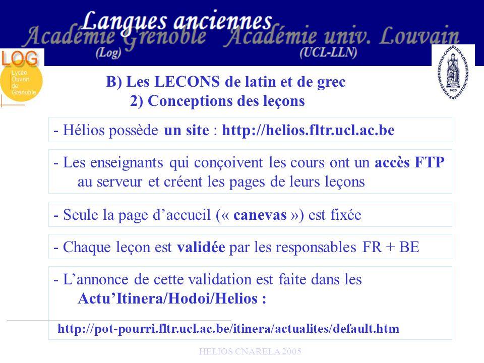 HELIOS CNARELA 2005 B) Les LECONS de latin et de grec 2) Conceptions des leçons - Hélios possède un site : http://helios.fltr.ucl.ac.be - Les enseigna