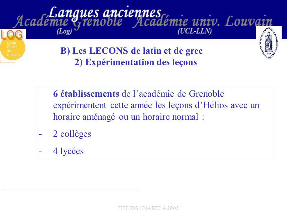 HELIOS CNARELA 2005 B) Les LECONS de latin et de grec 2) Expérimentation des leçons 6 établissements de lacadémie de Grenoble expérimentent cette anné