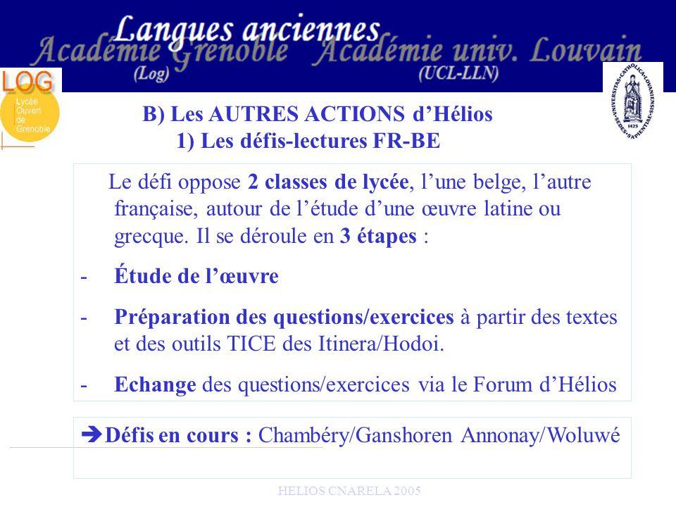 HELIOS CNARELA 2005 B) Les AUTRES ACTIONS dHélios 1) Les défis-lectures FR-BE Le défi oppose 2 classes de lycée, lune belge, lautre française, autour