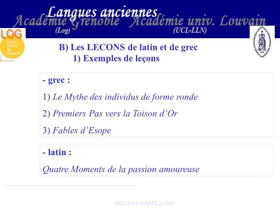 HELIOS CNARELA 2005 B) Les LECONS de latin et de grec 1) Exemples de leçons - grec : 1) Le Mythe des individus de forme ronde 2) Premiers Pas vers la