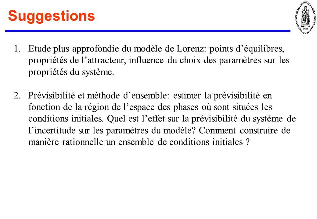 Suggestions 1.Etude plus approfondie du modèle de Lorenz: points déquilibres, propriétés de lattracteur, influence du choix des paramètres sur les pro