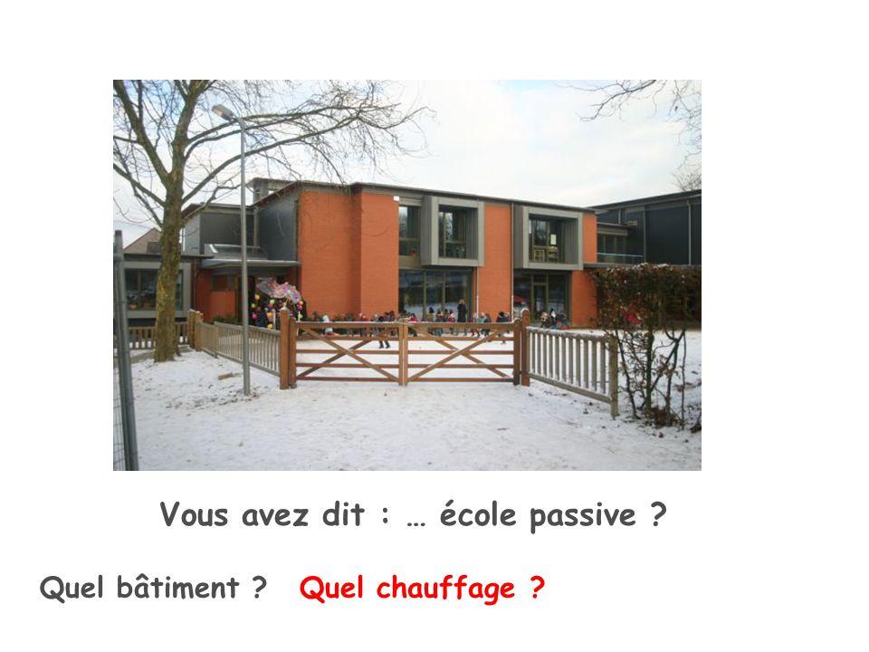 Quel bâtiment Vous avez dit : … école passive Quel chauffage