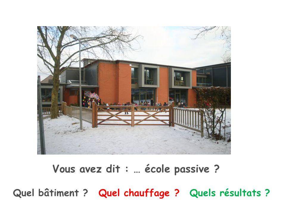 Quel bâtiment Vous avez dit : … école passive Quel chauffage Quels résultats