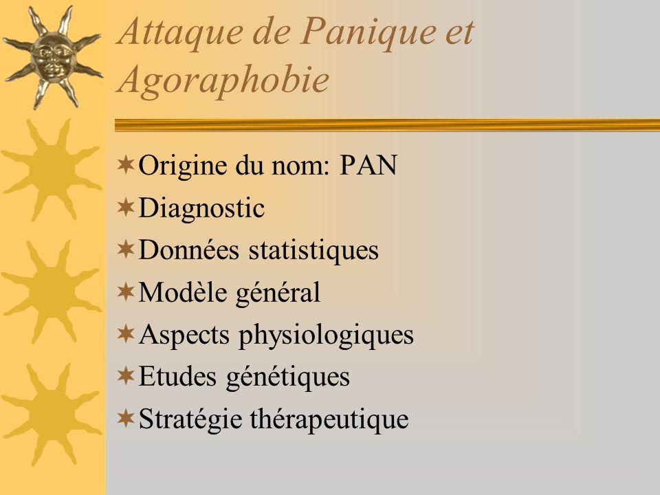 Attaque de Panique et Agoraphobie Origine du nom: PAN Diagnostic Données statistiques Modèle général Aspects physiologiques Etudes génétiques Stratégi
