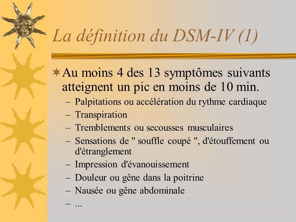 La définition du DSM-IV (1) Au moins 4 des 13 symptômes suivants atteignent un pic en moins de 10 min. –Palpitations ou accélération du rythme cardiaq