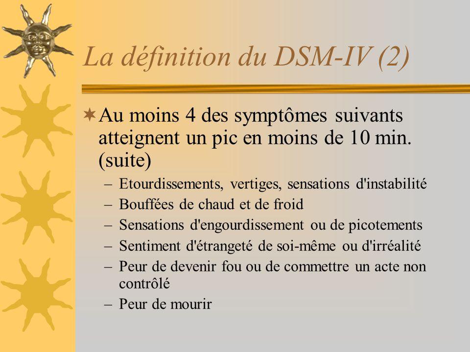 La définition du DSM-IV (2) Au moins 4 des symptômes suivants atteignent un pic en moins de 10 min. (suite) –Etourdissements, vertiges, sensations d'i