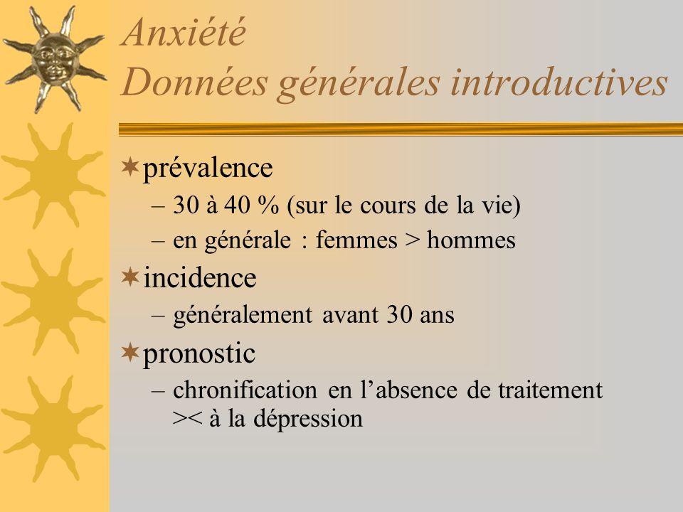 Anxiété Données générales introductives prévalence –30 à 40 % (sur le cours de la vie) –en générale : femmes > hommes incidence –généralement avant 30