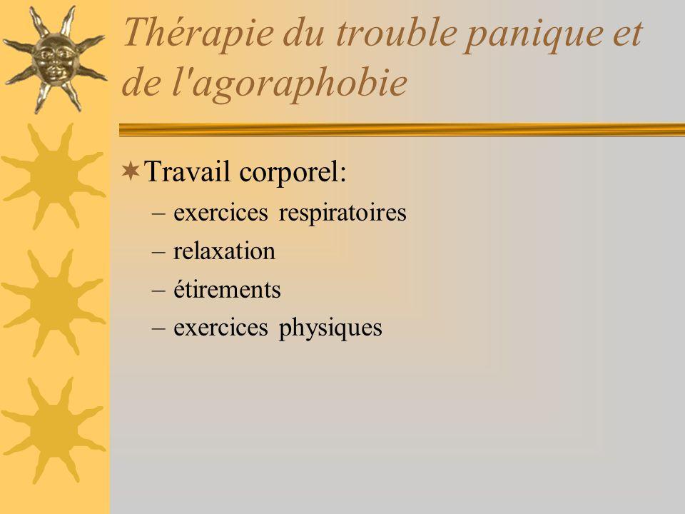 Thérapie du trouble panique et de l'agoraphobie Travail corporel: –exercices respiratoires –relaxation –étirements –exercices physiques