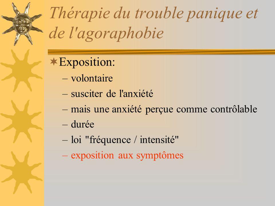 Thérapie du trouble panique et de l'agoraphobie Exposition: –volontaire –susciter de l'anxiété –mais une anxiété perçue comme contrôlable –durée –loi