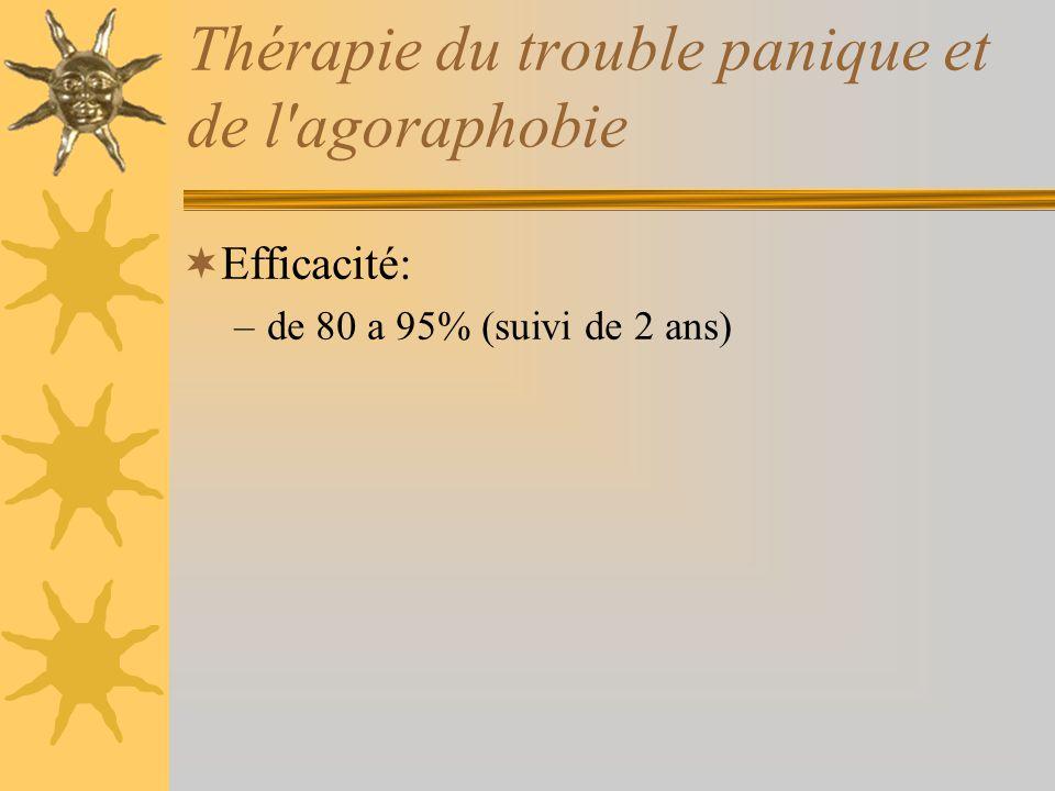 Thérapie du trouble panique et de l'agoraphobie Efficacité: –de 80 a 95% (suivi de 2 ans)