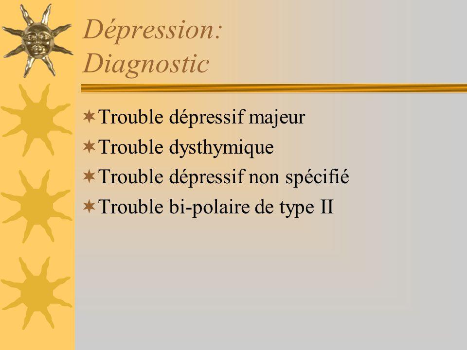 Dépression: Diagnostic Trouble dépressif majeur Trouble dysthymique Trouble dépressif non spécifié Trouble bi-polaire de type II