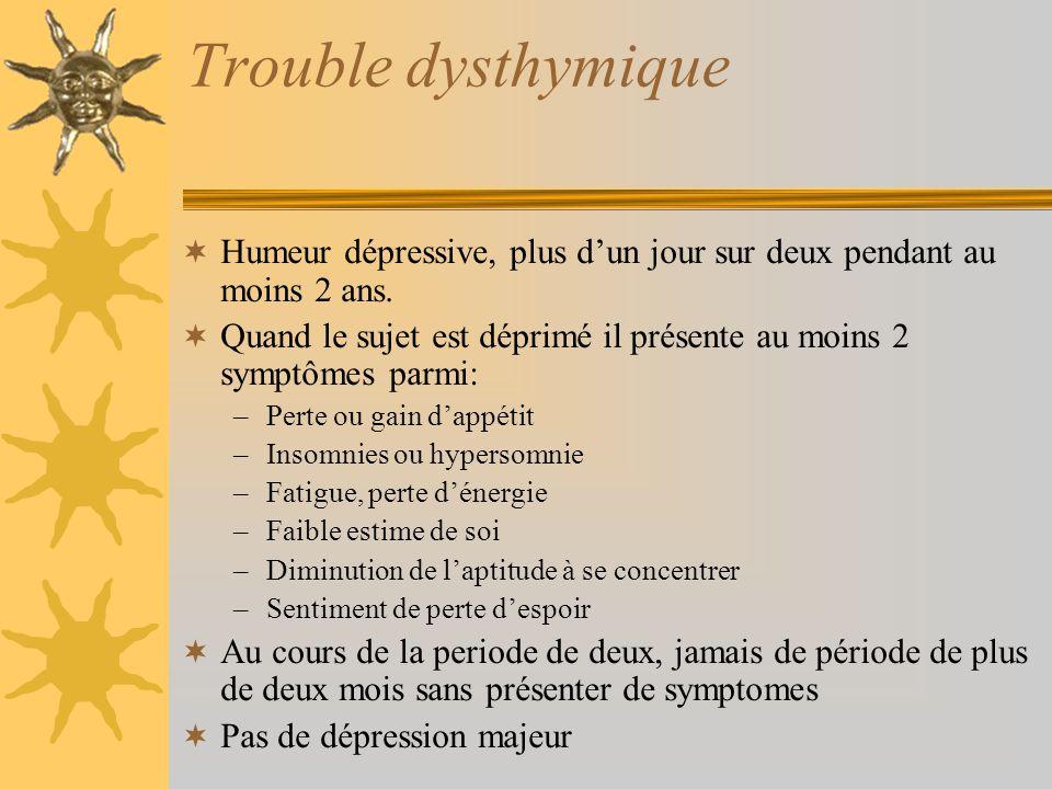 Trouble dysthymique Humeur dépressive, plus dun jour sur deux pendant au moins 2 ans. Quand le sujet est déprimé il présente au moins 2 symptômes parm