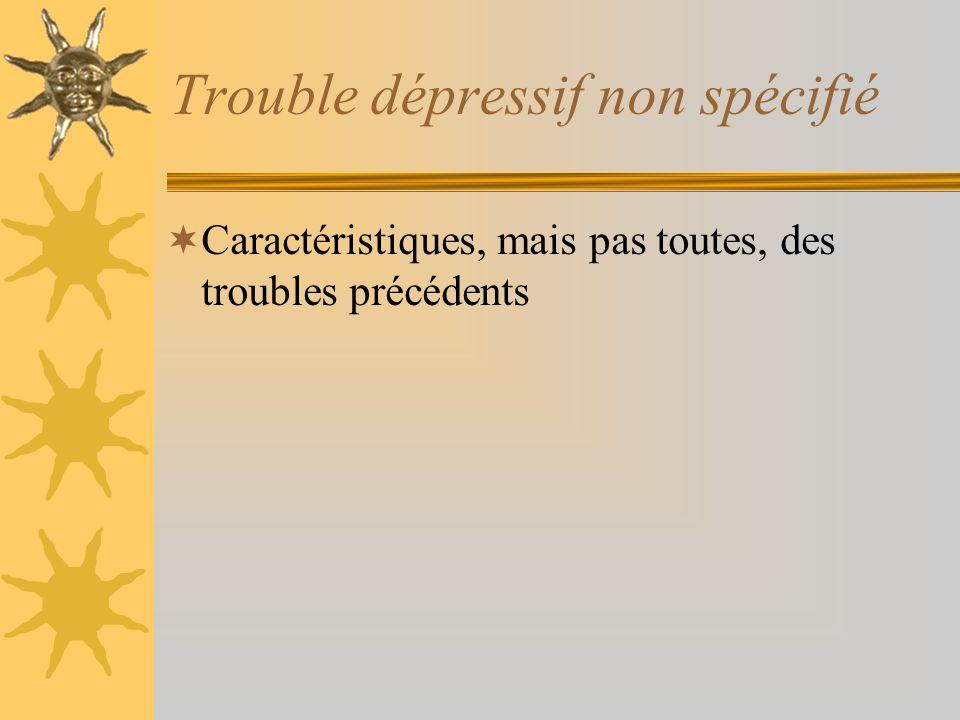 Trouble dépressif non spécifié Caractéristiques, mais pas toutes, des troubles précédents