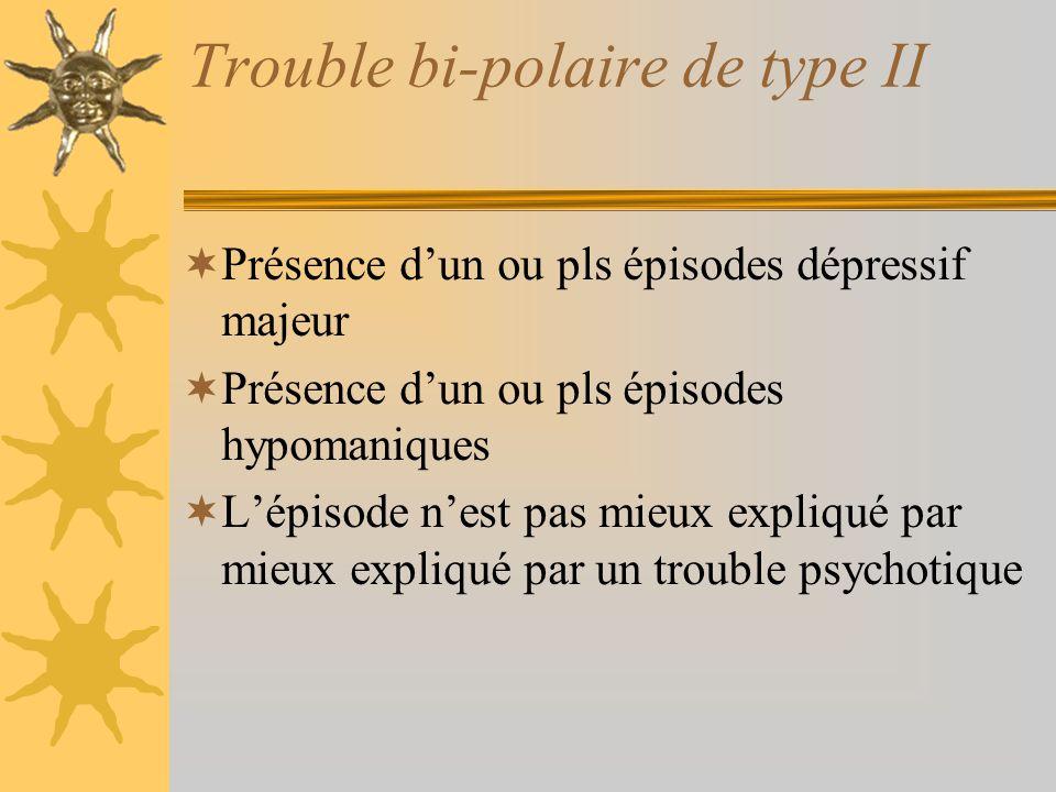 Trouble bi-polaire de type II Présence dun ou pls épisodes dépressif majeur Présence dun ou pls épisodes hypomaniques Lépisode nest pas mieux expliqué