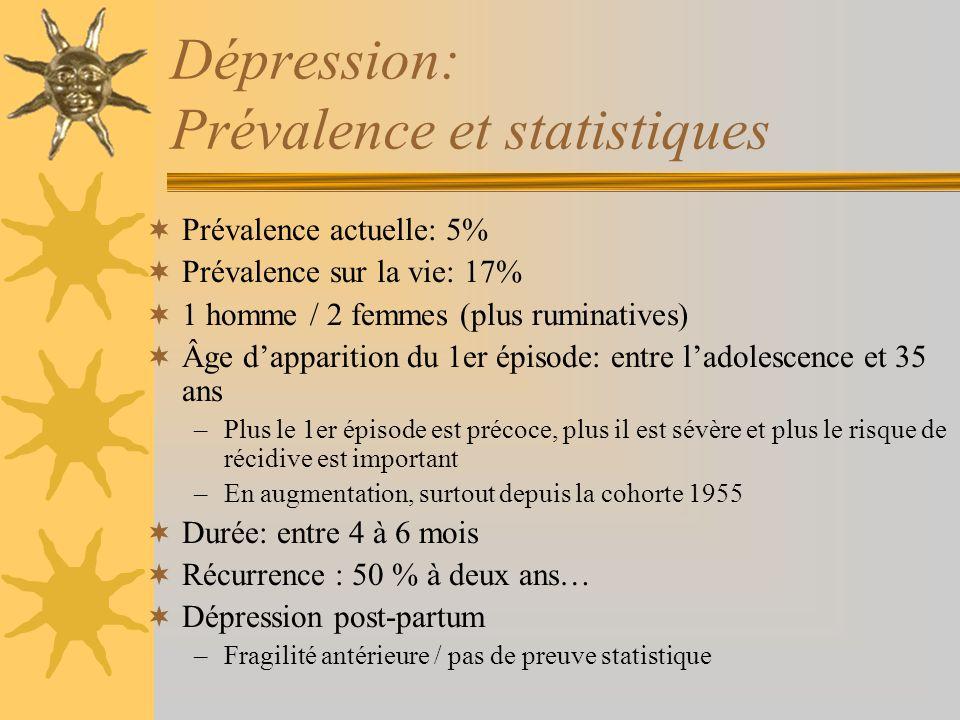 Dépression: Prévalence et statistiques Prévalence actuelle: 5% Prévalence sur la vie: 17% 1 homme / 2 femmes (plus ruminatives) Âge dapparition du 1er