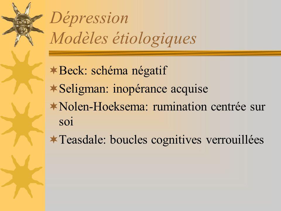 Dépression Modèles étiologiques Beck: schéma négatif Seligman: inopérance acquise Nolen-Hoeksema: rumination centrée sur soi Teasdale: boucles cogniti
