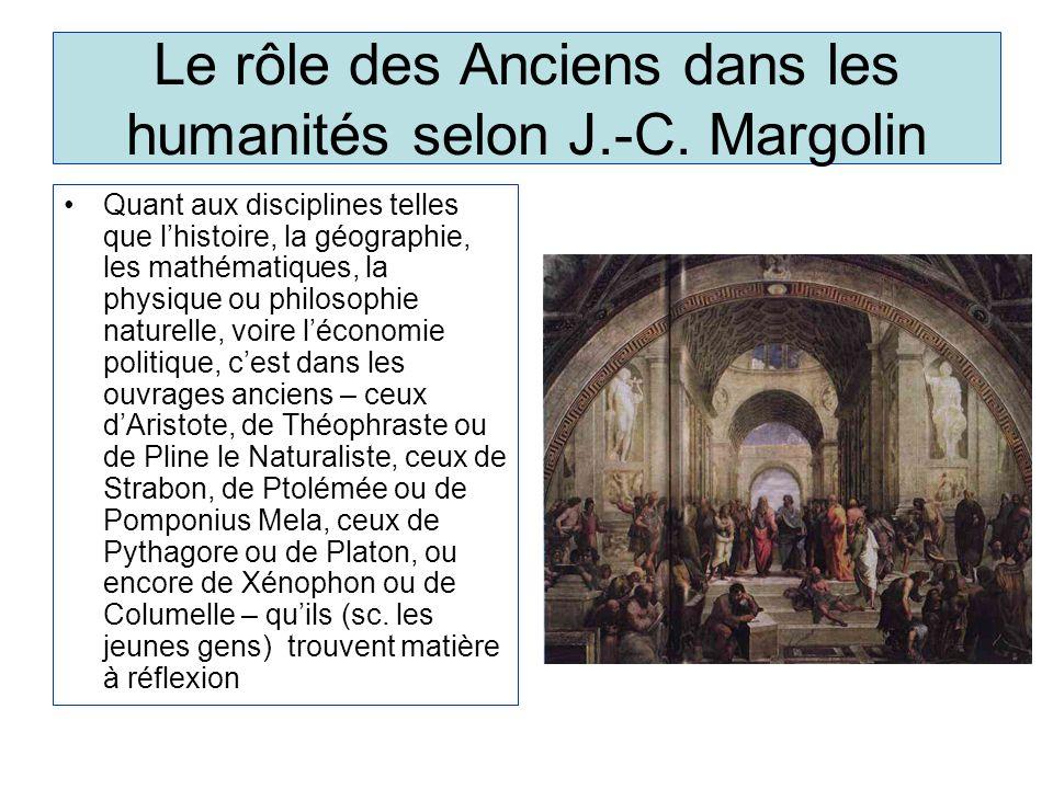 Le rôle des Anciens dans les humanités selon J.-C.