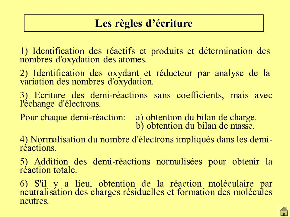 Les règles décriture 1) Identification des réactifs et produits et détermination des nombres d'oxydation des atomes. 2) Identification des oxydant et